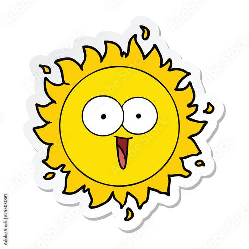 sticker of a happy cartoon sun