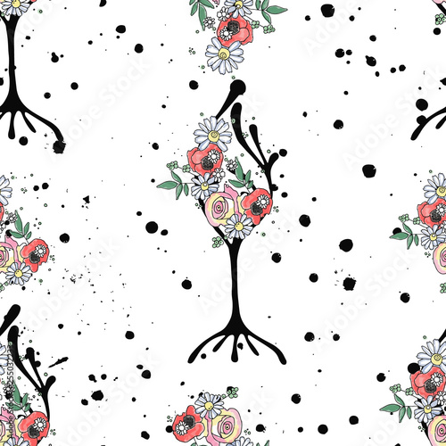 obraz lub plakat Vector hand drawn seamless pattern graphic illustration of tree with flowers leaves branch, rose, poppy Sketch drawing, doodle style Artistic abstract, watercolor wirh drip blot splotch ink splodge
