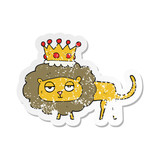 retro distressed sticker of a cartoon lion with crown