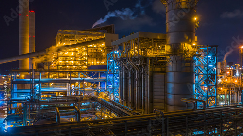 Leinwanddruck Bild Power station, Combined heat power plant at night, Large combined cycle power plant.