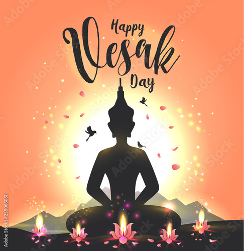 Vector illustration greeting card for Vesak day with lotus flower and buddhas silhouette. - 255066061