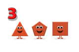 Learning to count. Illustration of shapes with a happy cartoon face, great for kids learning basic geometry and math - 255067201