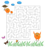 Funny maze game for Preschool Children. Illustration of logical education for children of preschool age. - 255068613