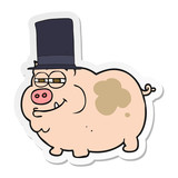 sticker of a cartoon rich pig