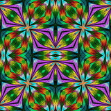 Multicolored floral pattern in stained-glass window style. You can use it for invitations, notebook covers, phone cases, postcards, cards, wallpapers and so on. Artwork for creative design. - 255071646