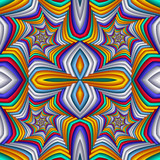 Multicolor Seamless abstract festive vivid pattern. Tiled ethnic pattern. Geometric mosaic. Great for tapestry, carpet, blanket, bedspread, fabric, ceramic tiles, stained glass window, wallpapers - 255074424