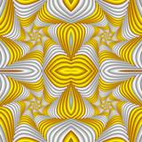 Seamless abstract festive pattern, yellow and white. Tiled ethnic pattern. Geometric mosaic. Great for tapestry, carpet, blanket, bedspread, fabric, ceramic tiles, stained glass window, wallpapers - 255076497