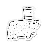 distressed sticker of a cartoon bear wearing top hat
