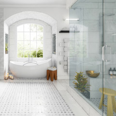 Renovation of an old building bathroom (detail) - 3d visualization