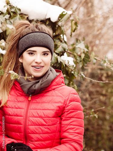 Woman wearing sportswear during winter - 255089039