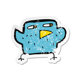 retro distressed sticker of a cartoon bird