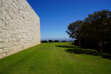 building facade and perfect meadow inside getty center