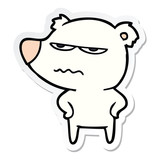 sticker of a angry bear polar cartoon
