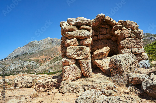 stone ruins in the mountains on the island of Crete... - 255109006