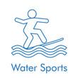 Logotipo abstracto con texto Water Sports con icono lineal surf en color azul