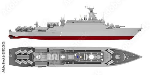 warship isolated on white