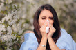 Allergic Woman Blowing Her Nose Next to Blooming Tree