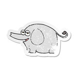 retro distressed sticker of a cartoon elephant squirting water