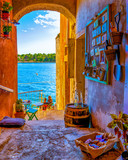 Rovinj colorful town Croatia, sunset Rovinj historical town with church and ocean