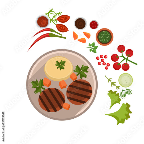 Appetizing Steak on Plate. Vector Illustration - 255133242
