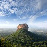 panorama Sunrise view to Sigiriya rock - Lion Rock - from Pidurangala Rock in Sri Lanka