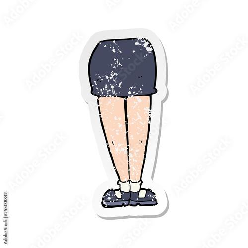retro distressed sticker of a cartoon female legs