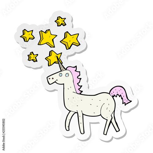 sticker of a cartoon magical unicorn