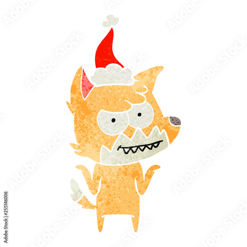 retro cartoon of a grinning fox wearing santa hat
