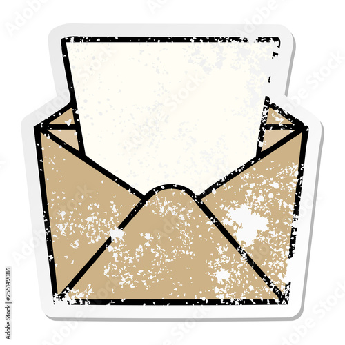 distressed sticker of a quirky hand drawn cartoon dollar in envelope