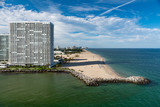 Ft Lauderdale beach on a sunny day as seen from Port Everglades in Florida with copy space