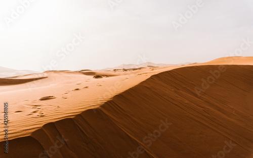 Amazing view! Erg Chebbi desert in Morocco. Sandstorm