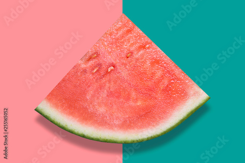 Piece of watermelon on colorful background - 255165052
