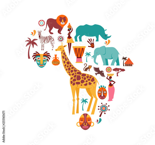 Africa map illustrated with animals icons, tribal symbols. Vector design