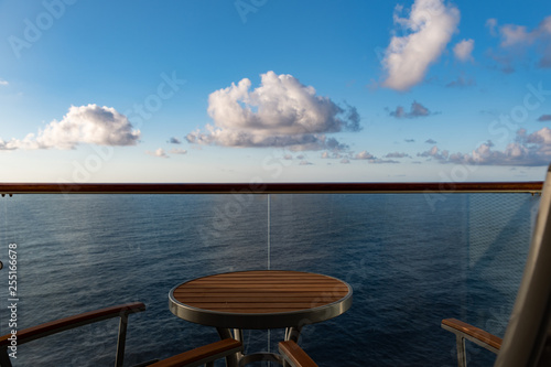 Private veranda on a cruise ship overlooking the ocean with copy space - 255166678