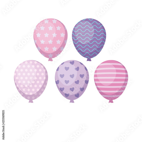 set of balloons helium isolated icon