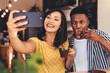 Leinwanddruck Bild - Funny selfie at cafe