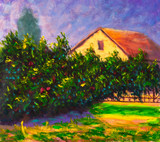 Original oil painting on canvas. Summer warm landscape. Lush beautiful bush with red roses flowers against the backdrop of a country house.  Modern art.