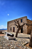 Monemvasia is located in Laconia, Peloponnese, Greece, on a small island