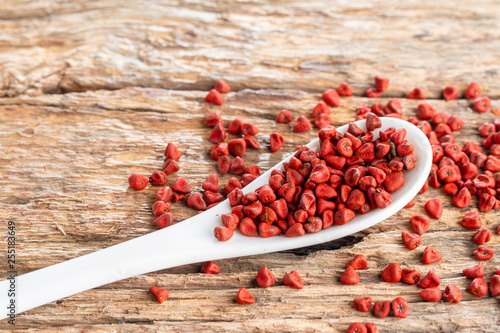 Seeds of achiote, originating from central america and parts of south america is used to season food