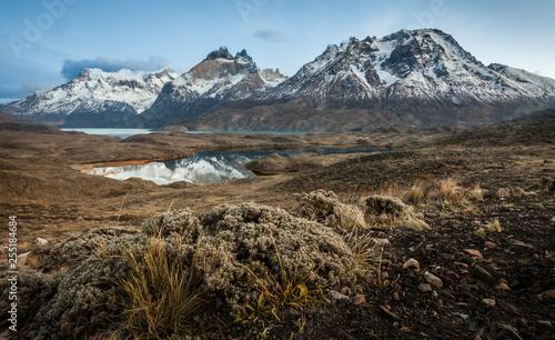 Leinwanddruck Bild Lagos y montañas en Torres del Paine.