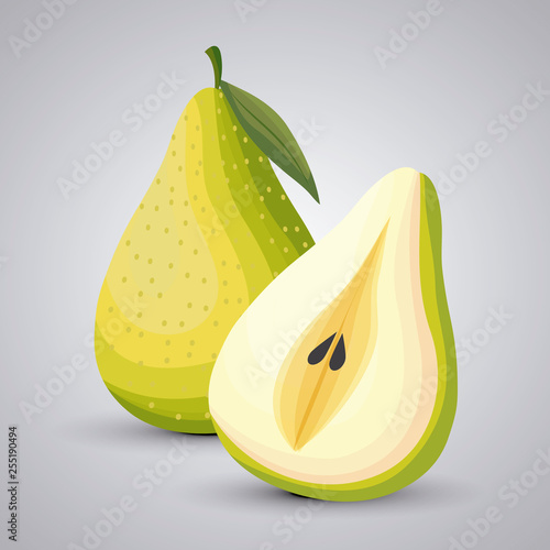fresh pears fruit with slice