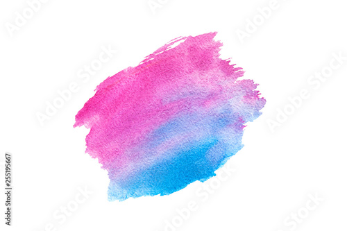 Pink and blue watercolor painting brush stroke, abstract background isolated on white