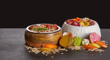 Bowls of healthy food mix for dogs or cats