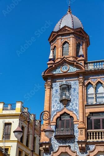 Leinwanddruck Bild Ornate Building in Seville, Spain