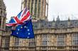 Leinwanddruck Bild - European Union and British Union Jack flag flying together.