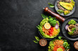A set of healthy food on a black stone table. Bowl Buddha. Top view. Free space for your text. - 255216254