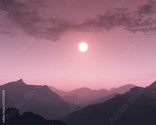 Foggy sunset over mountain landscape. © ysbrandcosijn