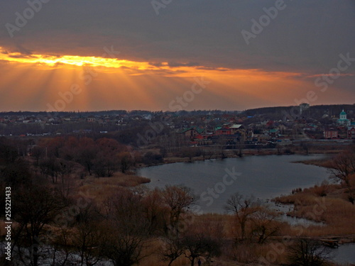 sunset over lake - 255221433