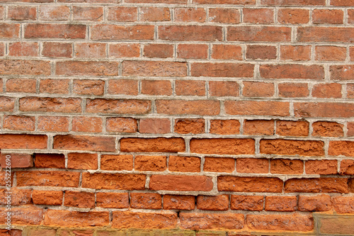 old red brick wall background - 255222690
