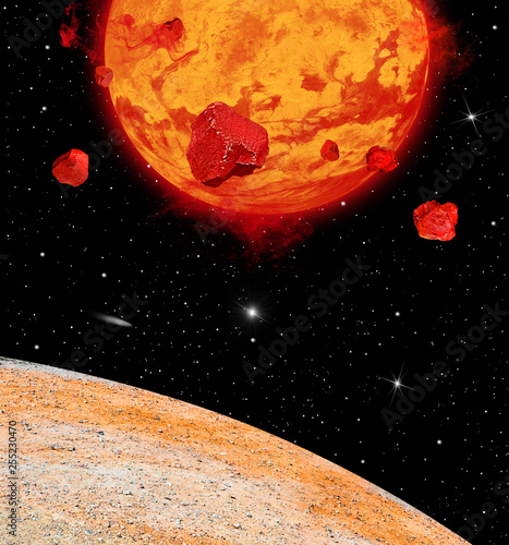 Lava Planet Viewed From and Angle on its Moon - 255230470